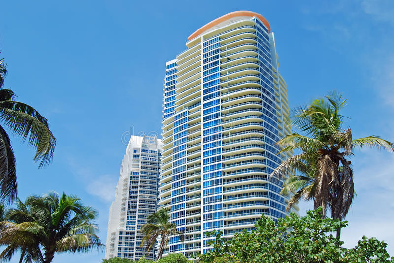 Miami Beach Luxury Condo Towers. Miami Beach luxury condominium towers overlooking government cut inlet and Southpointe Park beach royalty free stock photography