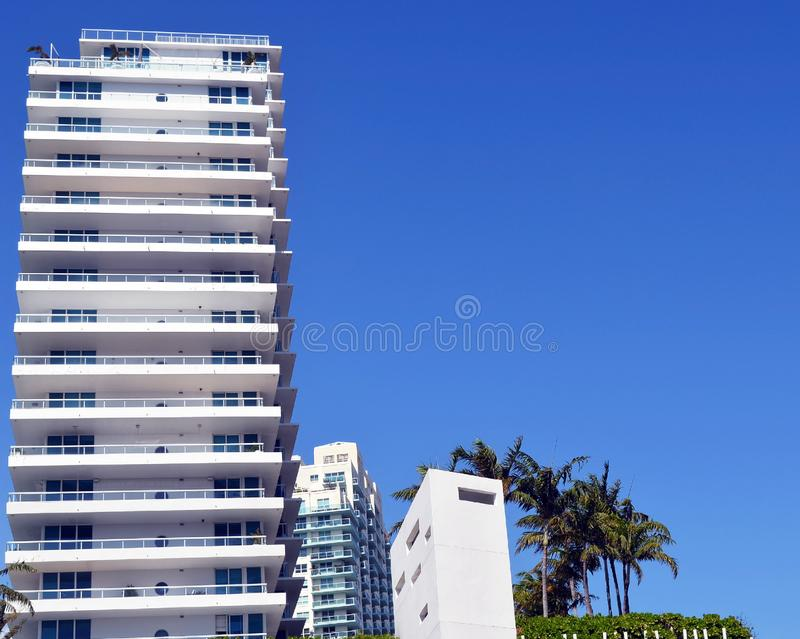 Miami Beach Luxury Condo Towers on the Shores of the Intra-Coastal Waterway royalty free stock images