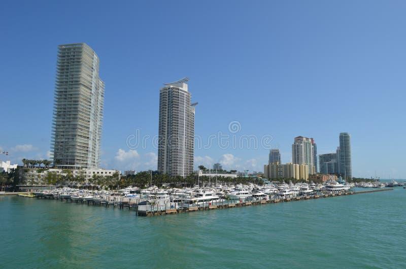 Miami Beach Luxury Condo Towers on the Shores of the Intra-Coastal Waterway. Luxury condominium towers overlooking a Mi Beach marina on the Florida Intra-Coastal royalty free stock photography