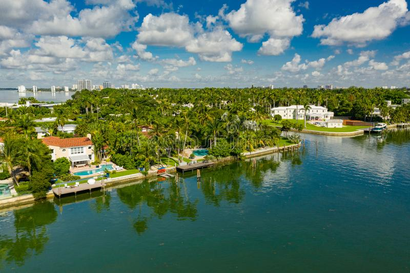 Miami Beach luxury waterfront real estate shot with a drone stock images