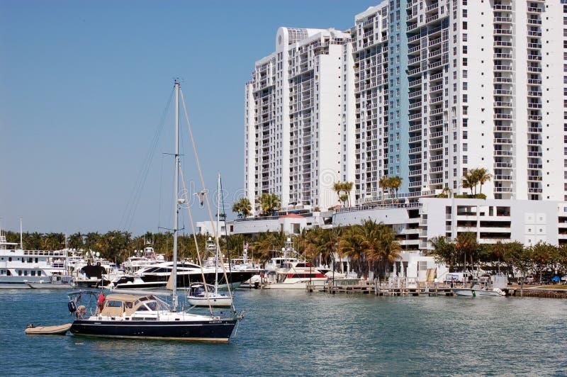 Miami Beach Marina and Condo Complex stock images