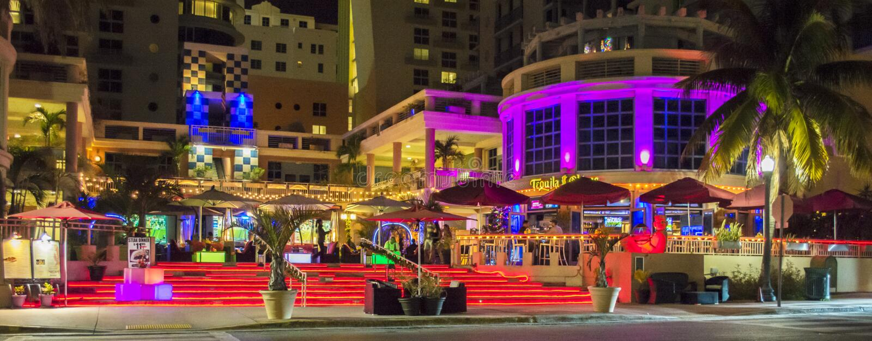 Miami Beach nattplats arkivbild