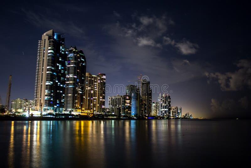 Miami beach at nigh ocean shore buildings royalty free stock photography