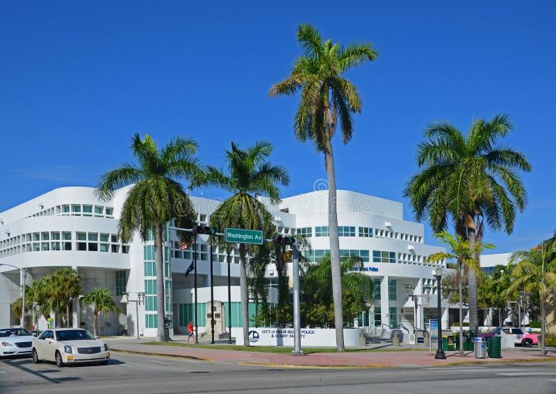 Miami Beach Police Department, Miami Beach, FL, USA. Miami Beach Police Department on Washington Avenue in Miami Beach, Florida, USA royalty free stock image