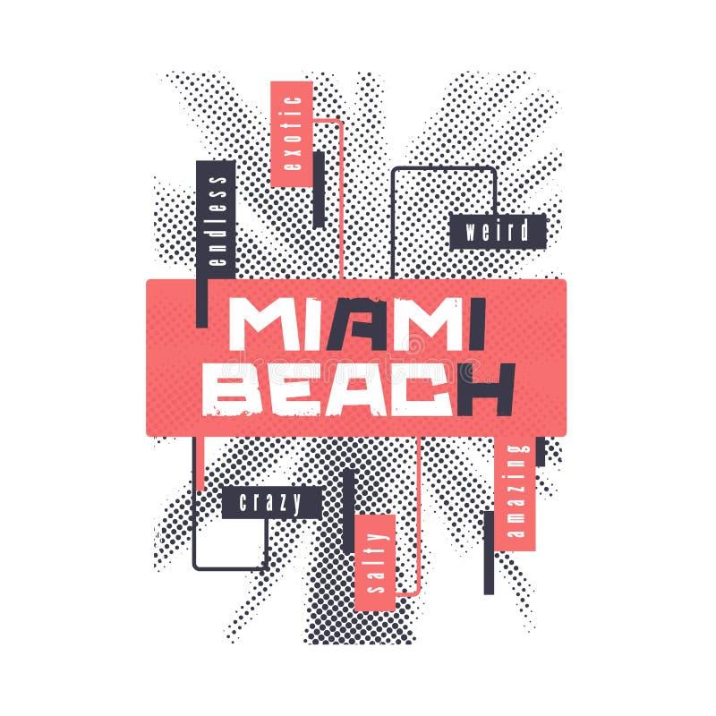 Miami Beach Projeto gráfico do t-shirt do verão com a palmeira estilizado Ilustra??o do vetor ilustração do vetor