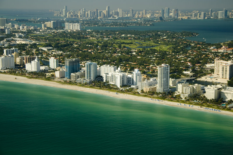 Aerial view of Miami shore stock photos