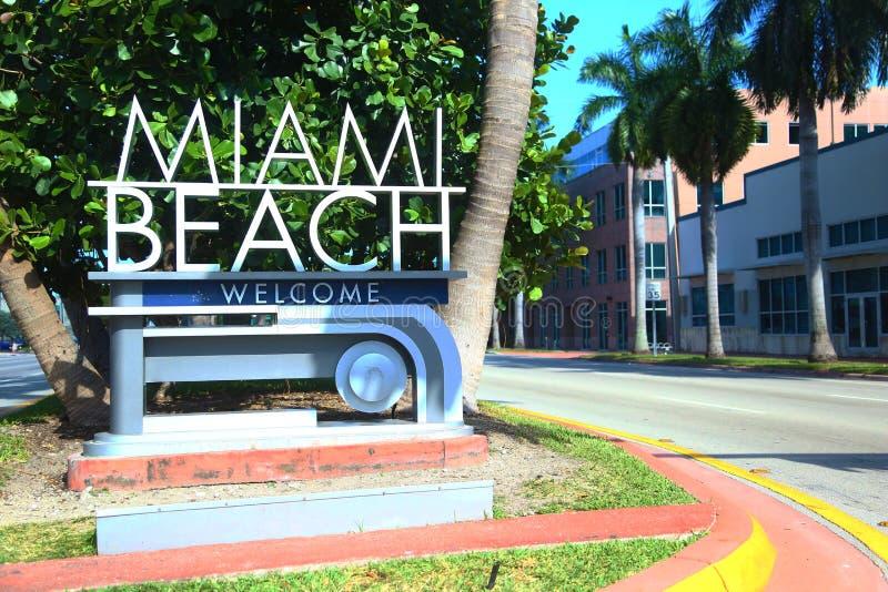 Miami Beach sign. Sign welcome to Miami Beach stock image