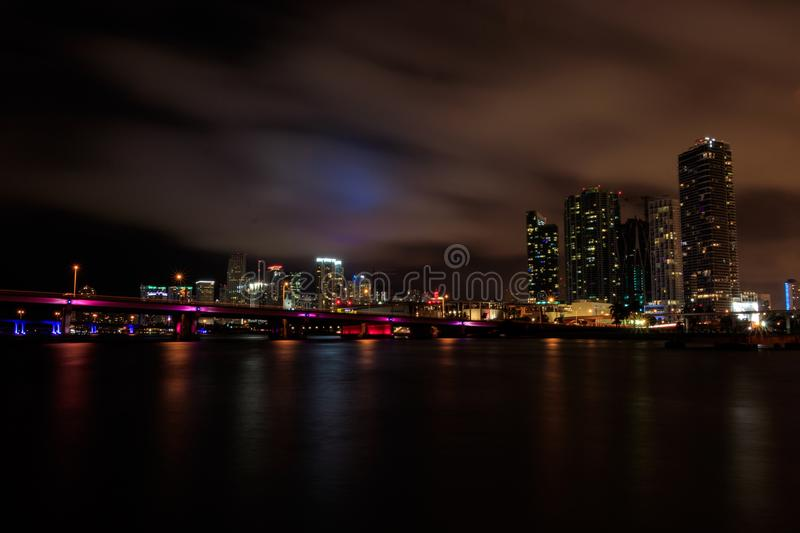 Miami Beach Skyline. This is a long exposure of the Miami Beach Skyline on a cloudy night stock photography