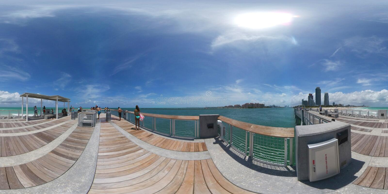 Miami beach south pointe park pier stock image image of for Miami fishing piers