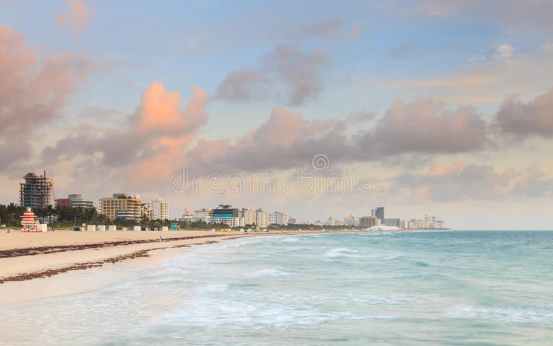 Miami Beach Sunrise. Dawn breaks on South Beach, Miami stock images