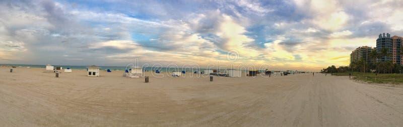 Miami Beach Sunset Panorama. Panoramic view taken of Miami beach at sunset royalty free stock photo