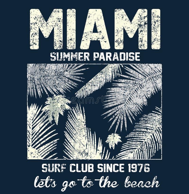 Miami Beach typografi med den blom- illustrationen för t-skjorta prin stock illustrationer
