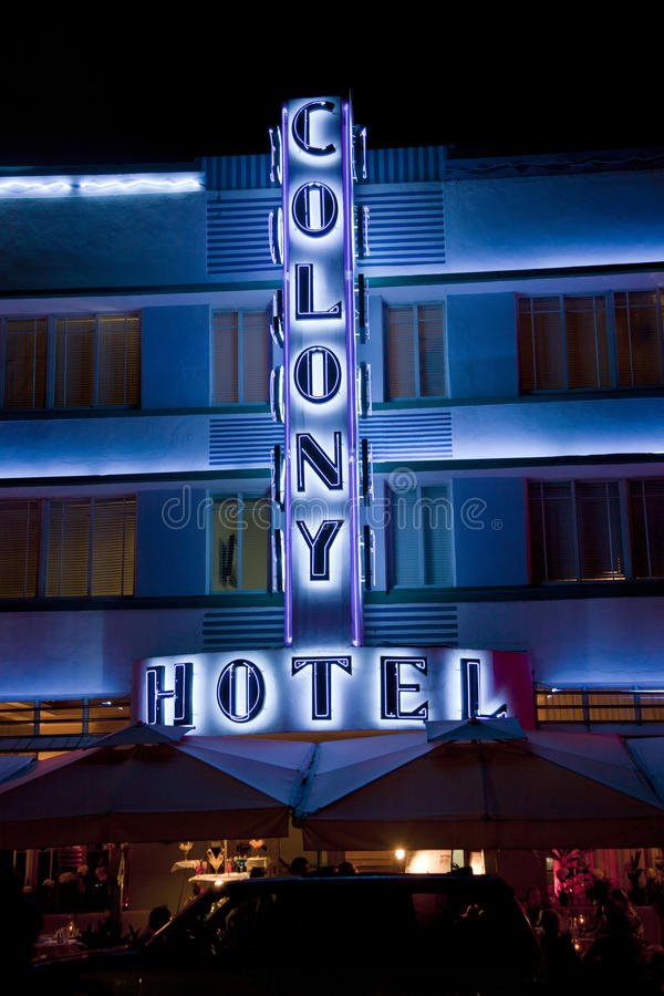 Download Art Deco Facade Of Hotel At The Ocean Drive In Miami Beach By Night Editorial Photography - Image: 29820567