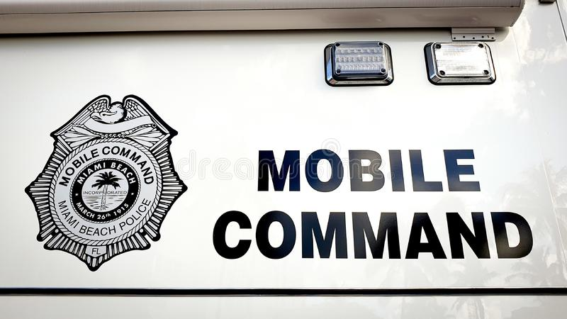 MIAMI BEACH, USA - NOVEMBER, 2019: Mobile Command Sign of Miami Beach Police Department royalty free stock images