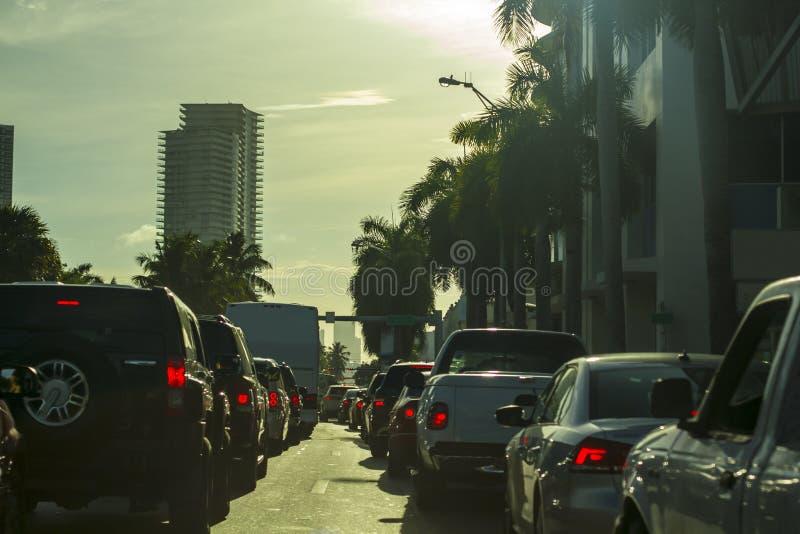 Miami Beach-Verkehrsstaustraße lizenzfreies stockbild