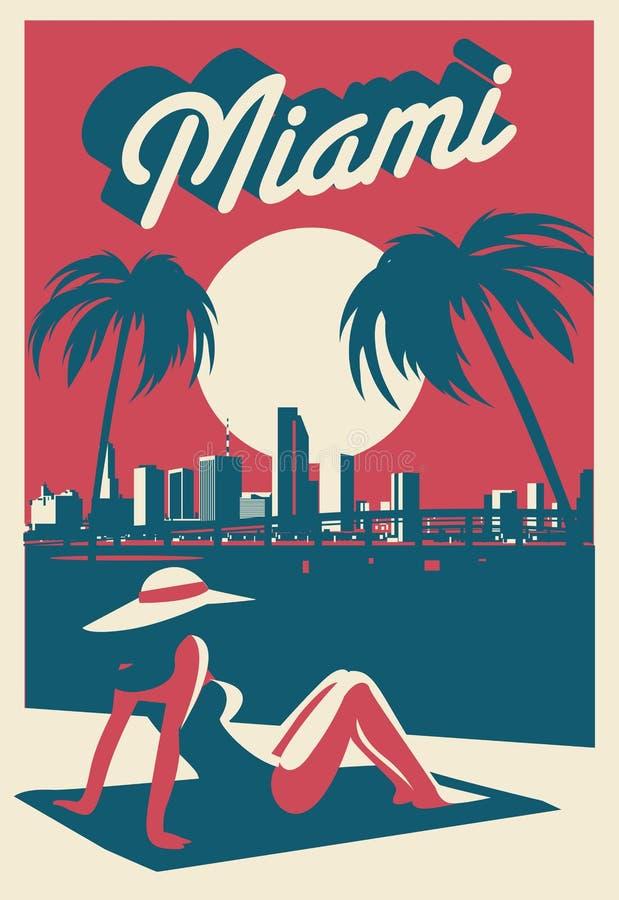 Miami Beach vykort royaltyfri illustrationer