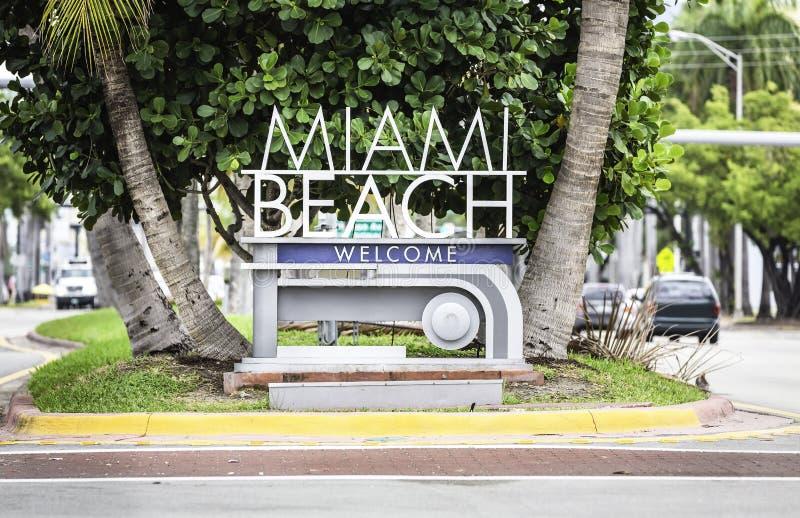 Miami Beach welcome sign. Florida royalty free stock photos