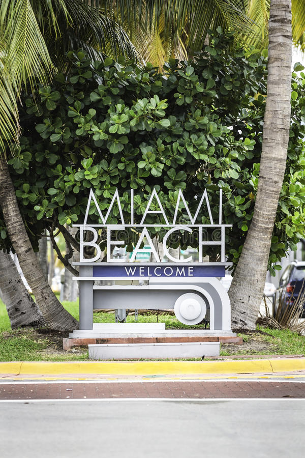 Miami Beach welcome sign. Florida royalty free stock image