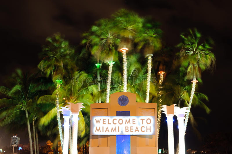 Miami beach. Welcome signboard in Miami beach royalty free stock photography