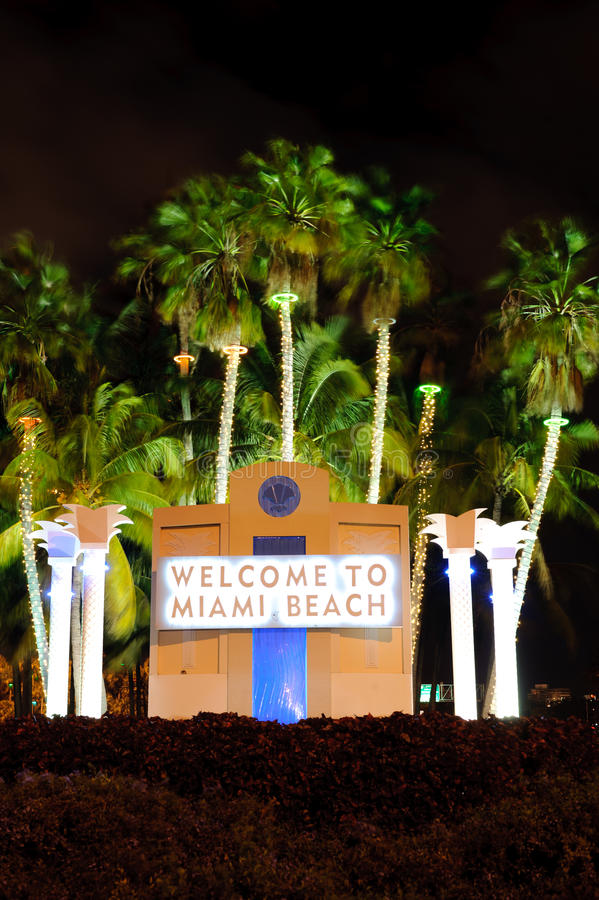 Miami beach. Welcome signboard in Miami beach stock images
