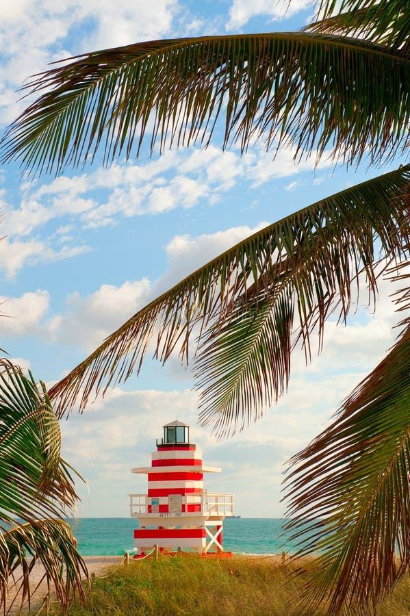 Miami- Beachleben-Abdeckung-Bretterbude stockfotos