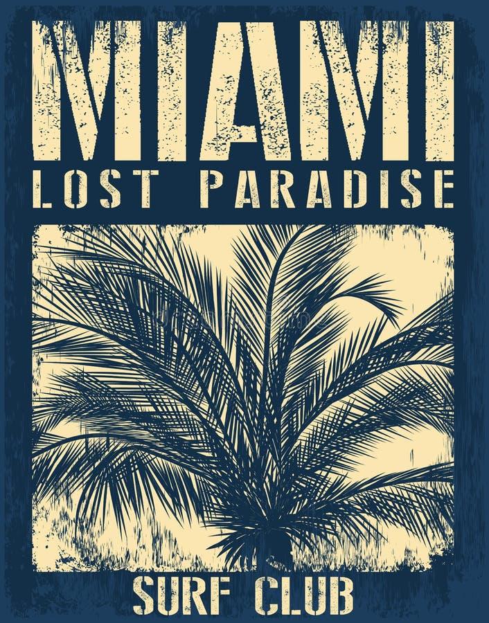 Miami- Beachtypographie mit Blumenillustration für T-Shirt prin stock abbildung
