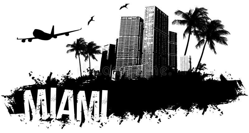 Miami black background stock illustration