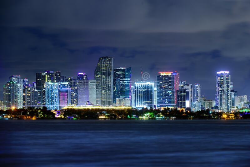Miami business district, lights and reflections of the city. Miami night downtown, city Florida. stock photography