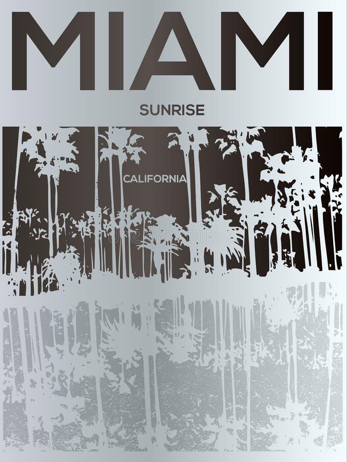 Miami - conceito da ilustração do vetor no estilo gráfico do vintage para ilustração do vetor