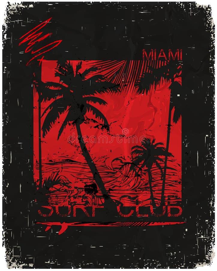 Miami - concepto del ejemplo del vector en el estilo gráfico del vintage para ilustración del vector