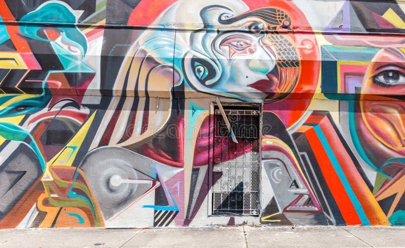MIAMI, DE V.S. - 29 AUGUSTUS, 2014: Graffitikunst op muur in het district Wynwood van het graffitiontwerp op 29 Augustus, 2014 in royalty-vrije stock fotografie