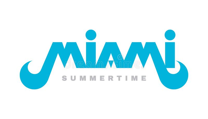 Miami - de vectorillustratie van het conceptenembleem Typografisch creatief symbool in uitstekende retro stijl Origineel doopvont royalty-vrije illustratie