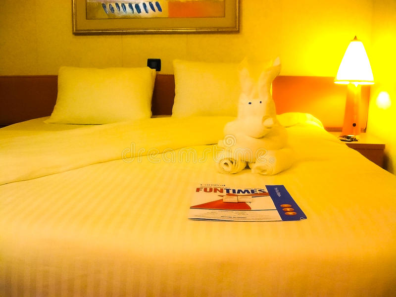 Miami, de Verenigde Staten van Amerika - Januari 8 2014: De cruise van Carnaval Glory Cruise Ship stock foto