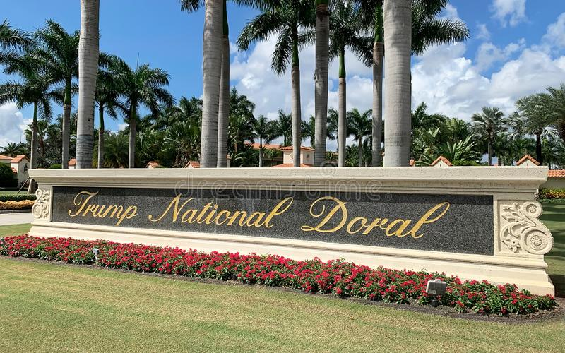 Trump National Doral entrance sign stock photography