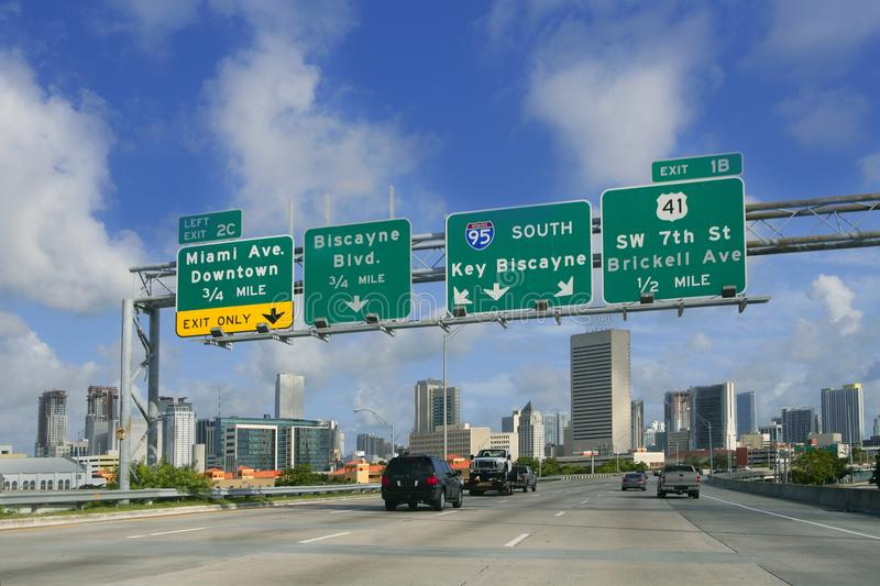Miami Downtown Florida road signs. Key Biscayne stock photography