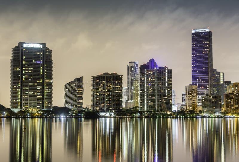 Miami downtown at night royalty free stock photos