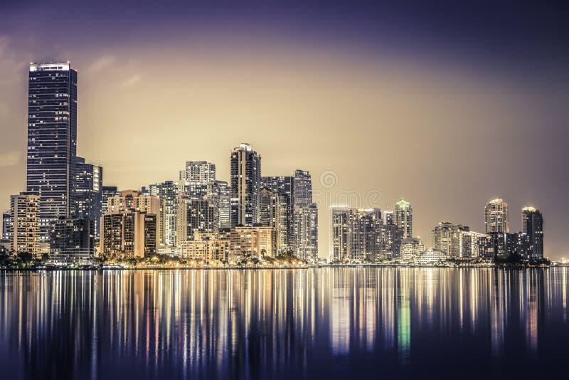 Miami downtown at night stock image