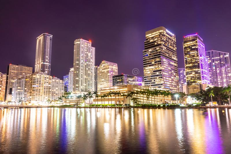Miami downtown skyline under bright night lights stock images