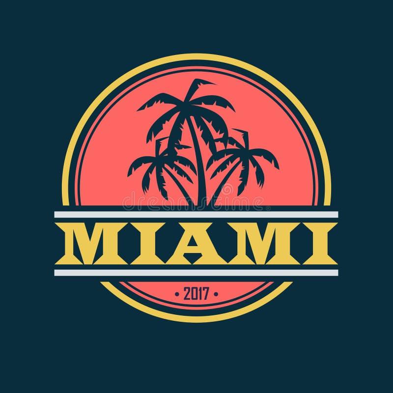 Miami 2017 etikett stock illustrationer