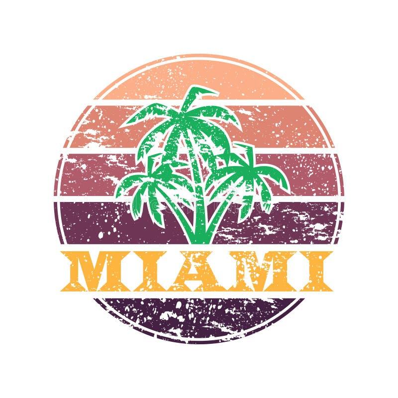 Miami färgrik etikett stock illustrationer