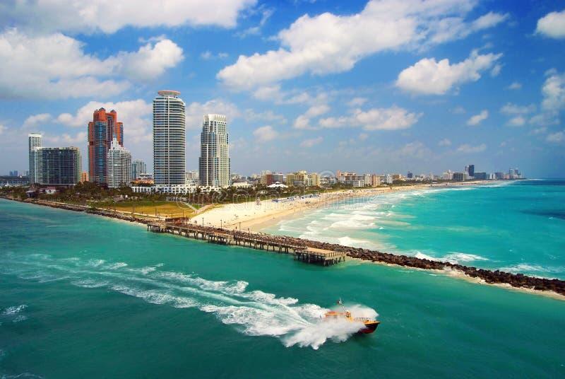 miami för flyg- strand södra sikt royaltyfria foton