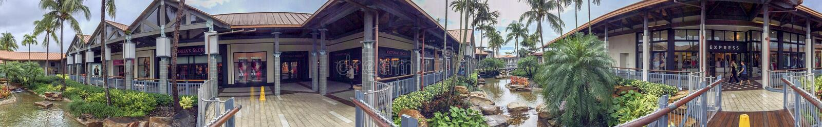 MIAMI, FL - FEBRUARY 2016: Panoramic view of The Falls mall. This is one of the biggest mall in Florida royalty free stock photography