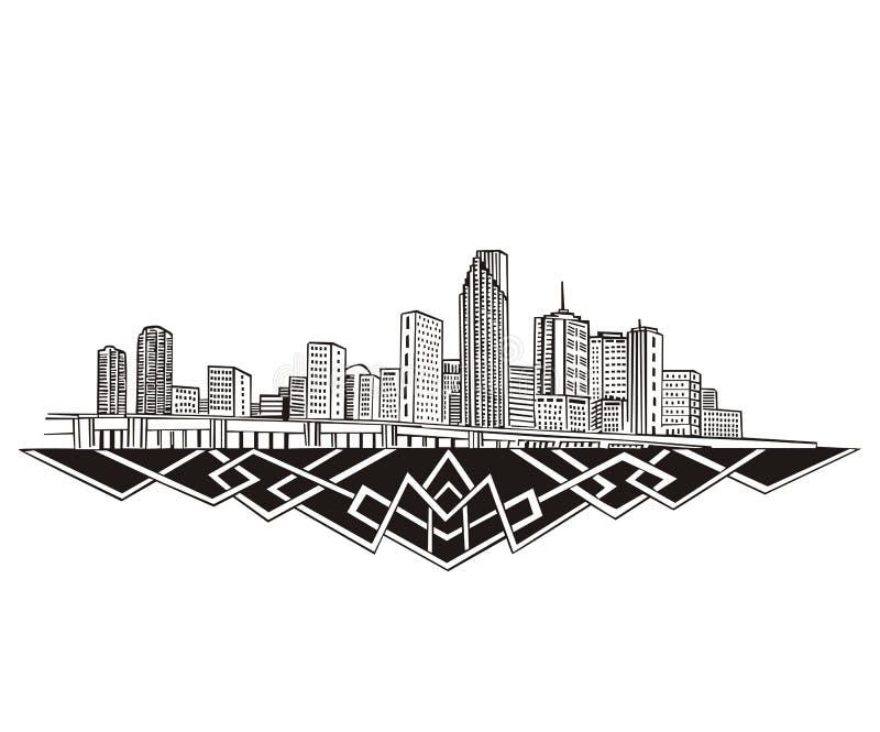 Miami FL-horisont stock illustrationer