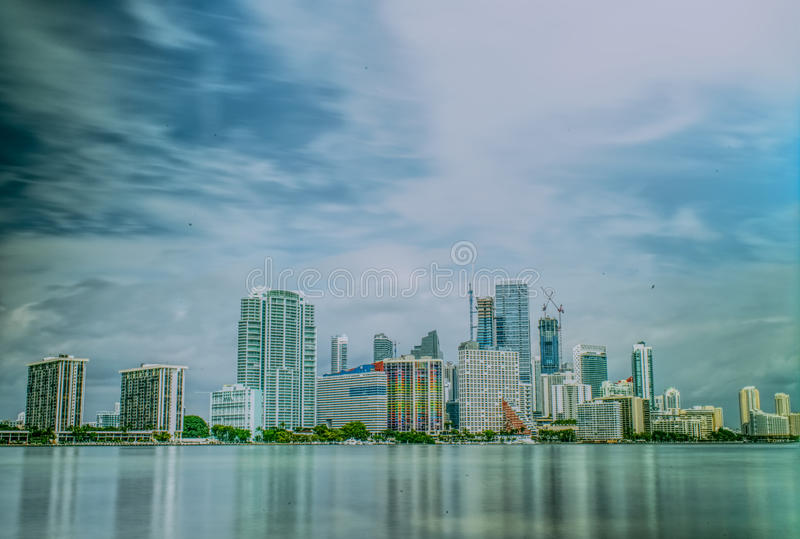 Miami Florida Downtown day time skyline long exposure. Day time long exposure photo of Miami Florida skyline. Shot from Hobie Island park royalty free stock images