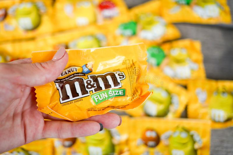 MIAMI, FLORIDA - FEBRUARY 17, 2019. M & M`s Chocolate candies, produced by Mars, Incorporated. royalty free stock image