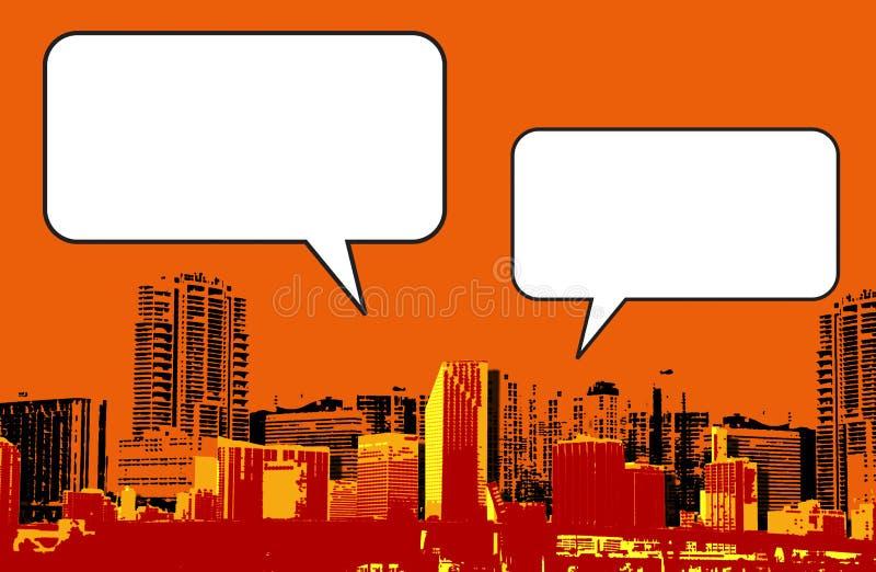 Miami Florida grunge stileert grafisch in sinaasappel vector illustratie