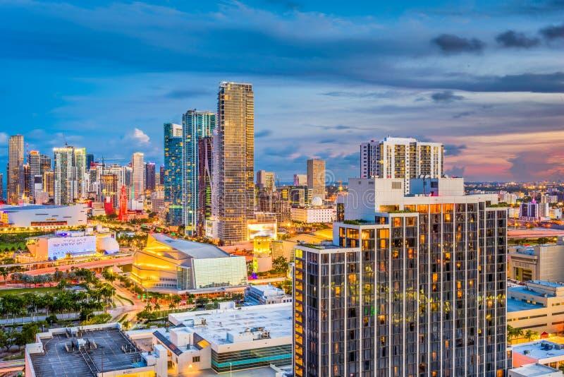 Miami, Florida, orizzonte di U.S.A. immagini stock libere da diritti