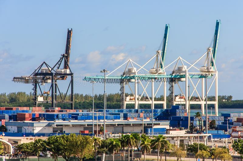 Container cranes in Miami port. View 2 from Cruise Ship Terminal royalty free stock photo