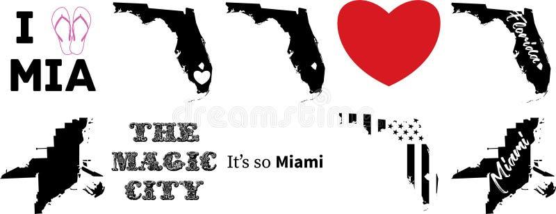 Miami florida USA översiktsvektor royaltyfri illustrationer