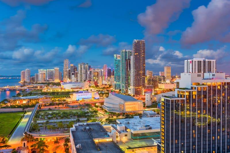 Miami, Florida, USA Skyline. Miami, Florida, USA aerial skyline at dusk royalty free stock photos